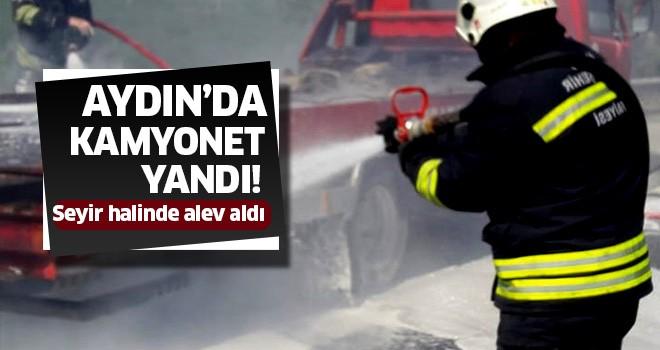 Aydın'da oto kurtarma aracı yandı