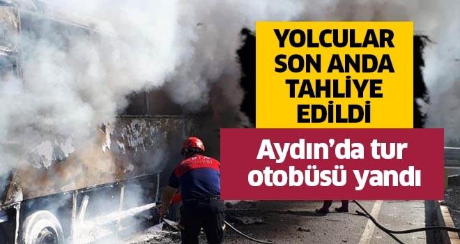 Aydın'da tur otobüsü yandı
