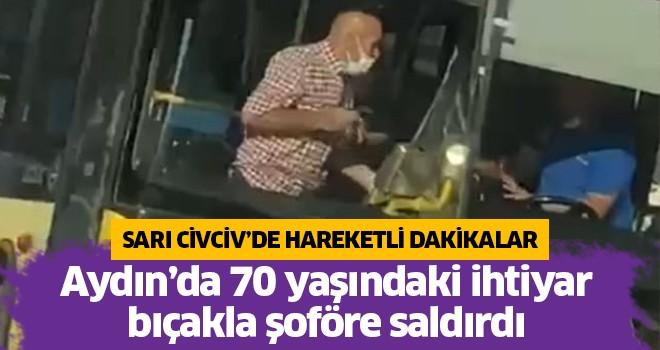 70 yaşındaki yolcu, bıçakla  şoföre saldırdı