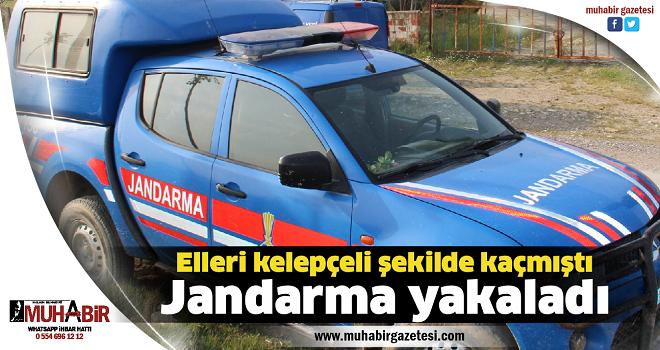 Elleri kelepçeli şekilde kaçmıştı, Jandarma yakaladı