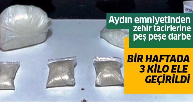 1 haftada 3 kilo uyuşturucu madde ele geçirildi