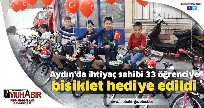 Aydın'da ihtiyaç sahibi 33 öğrenciye bisiklet hediye edildi