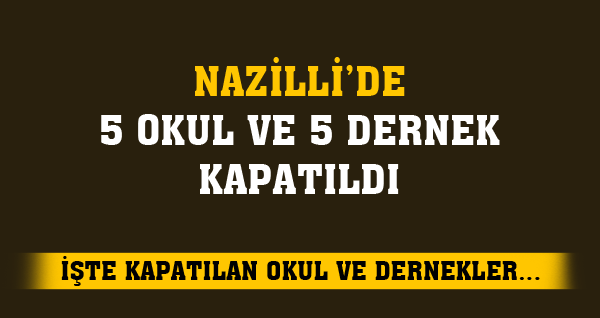 Nazilli'de 5 Okul ve 5 Dernek Kapatıldı